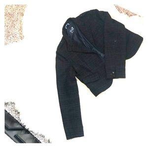 Blue and brown plaid blazer